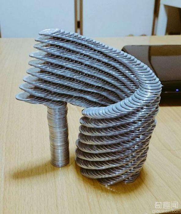 岛国堆硬币高手 硬币搭建螺旋塔不用2小时