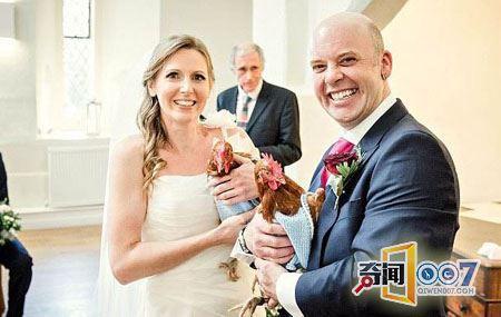 美夫妇婚礼上让两只母鸡作伴娘