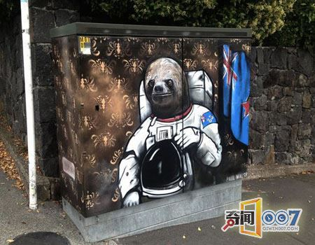 新西兰艺术家街头涂鸦公共设施箱
