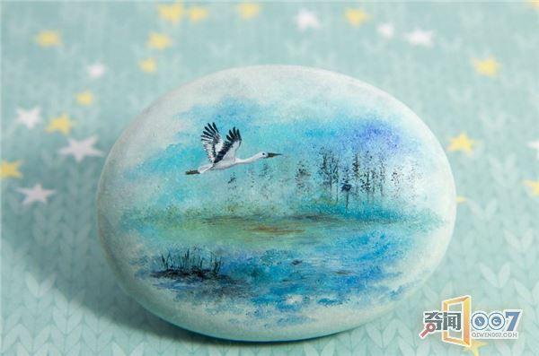 大神在石头上作画,画出一个诗意盎然的世外桃源