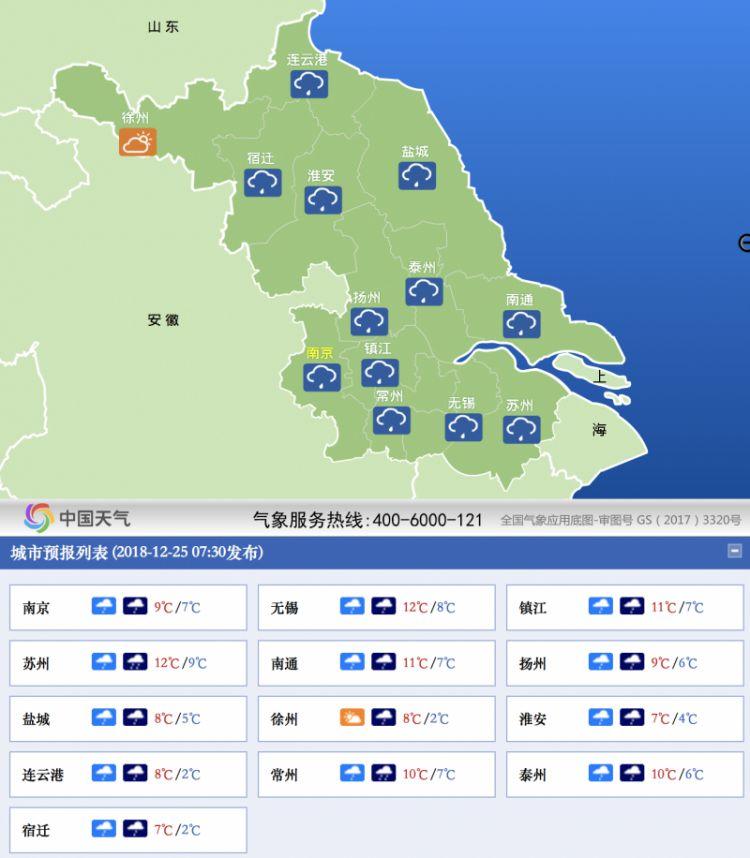 """气温""""跌跌不休""""!本周江苏有两轮雨雪"""
