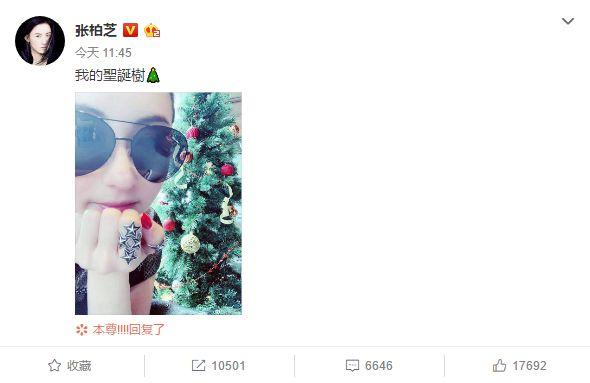 张柏芝晒与圣诞树合照 手上别致星星戒指抢镜