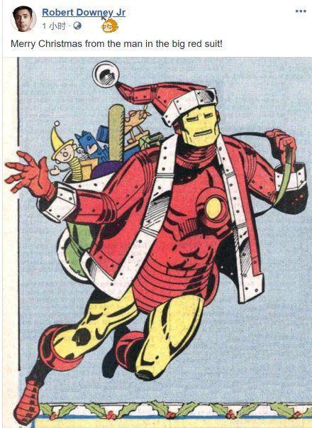 唐尼晒圣诞老人版钢铁侠,网友:想要背后篓子里的礼物