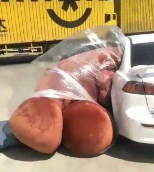 """男子为给女朋友惊喜,买了一个""""大熊"""",可怎么都装不了车"""