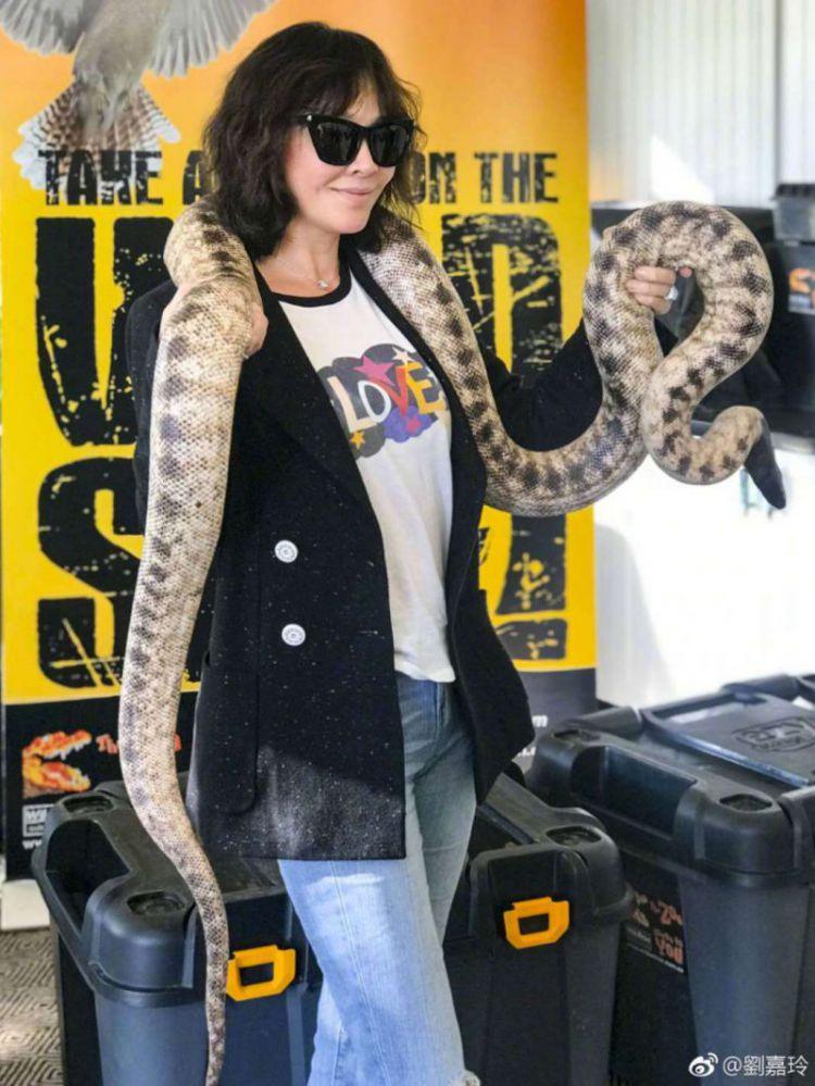 刘嘉玲脖子上缠着几米长的大蛇,网友:她笑得很勉强!