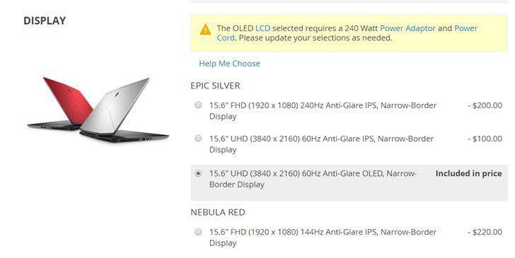 外星人M15笔记本更新OLED屏幕:4K@60Hz,售价2000美元
