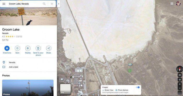 谷歌地图为51区添加UFO图标