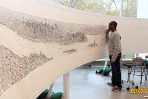[多图]英自闭症画家凭借惊人记忆手绘纽约全景
