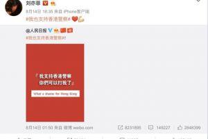 因支持香港警察,刘亦菲新片遭外国抵制