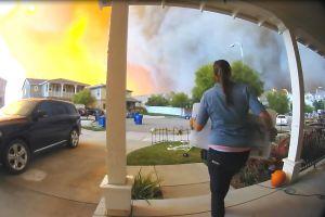 美一民宅摄像头记录山火前居民撤离的画面大火几分钟就包围房子